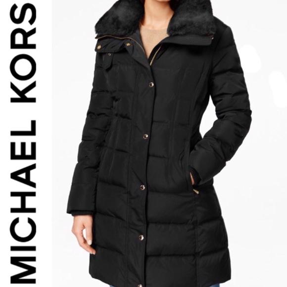 Michael Kors Faux Fur Collar Puffer Down Coat